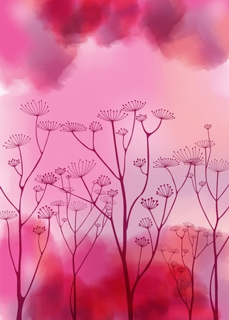 Abstract watercolor vector background with vintage flowers Vector