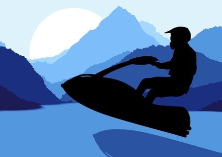 moto acuatica: Jet ski agua deporte motociclista en el vector natural del paisaje, naturaleza, ilustración de fondo Vectores