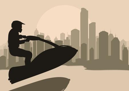 moto acuatica: Jet ski agua deporte motociclista en la ciudad de los rascacielos ilustración vectorial paisaje de fondo
