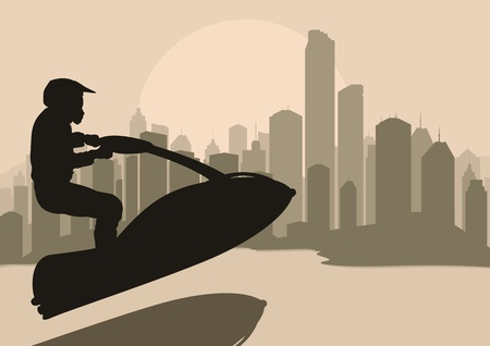 motorcycle rider: Ski jet water sport motorcycle rider in skyscraper city landscape background illustration vector
