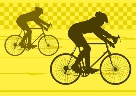 Sport road bike riders bicycle silhouettes in urban city road background illustration vector Stock Vector - 12045251