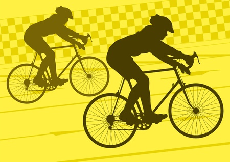 Sport road bike riders bicycle silhouettes in urban city road background illustration vector Stock Vector - 12045252