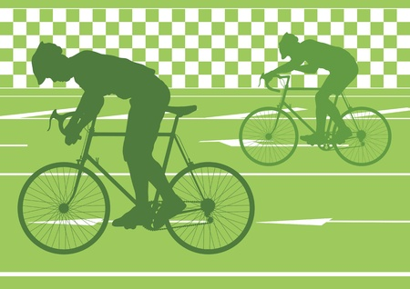 Sport road bike riders bicycle silhouettes in urban city road background illustration vector Stock Vector - 12045248