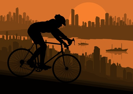 Sport road bike bicycle riders in skyscraper city landscape background illustration vector
