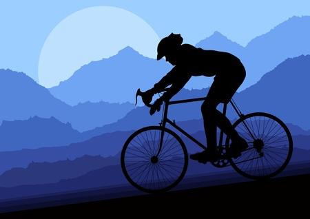 earth road: Sport pista ciclabile ciclisti nel selvaggio paesaggio illustrazione vettoriale natura sfondo