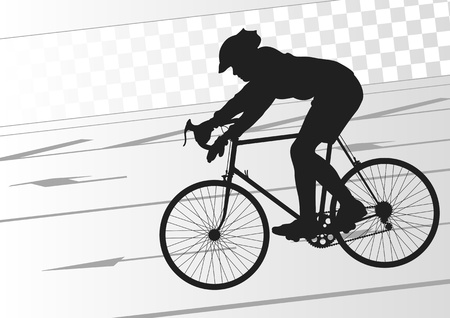 road bike: Sport road bike rider bicycle silhouette in urban city road background illustration vector