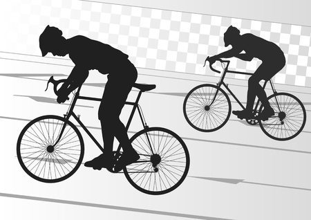 Sport road bike rider bicycle silhouette in urban city road background illustration vector Stock Vector - 12045250