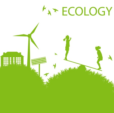 Ecology city and elements background vector concept- wind alternative energy and girls playing in grass Vector
