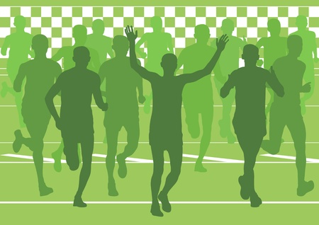 Marathon runners in urban city landscape background illustration vector Vector