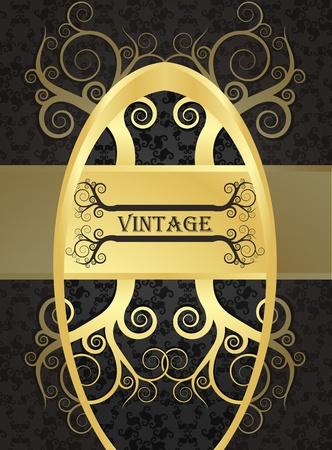 classic art: Golden vintage vector background