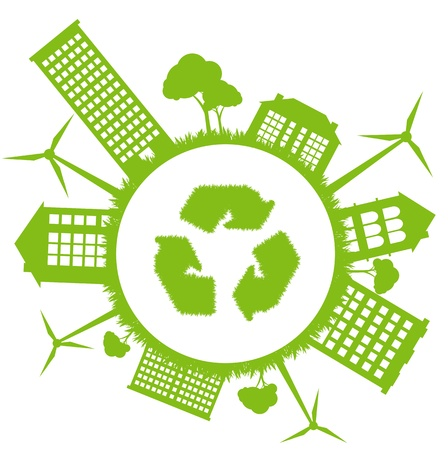 Green ecology energy planet vector concept with recycling arrows for poster Vector
