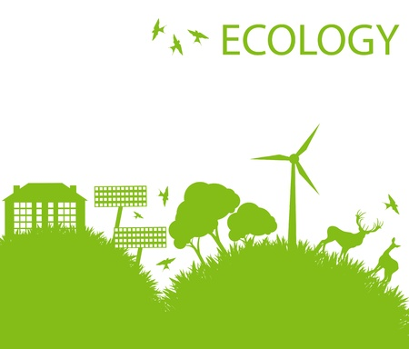 Ecology city and elements background vector concept- wind alternative energy Vector