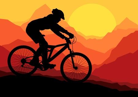 bicicleta vector: Ciclistas en bicicleta de monta�a en la naturaleza salvaje paisaje de fondo ilustraci�n vectorial