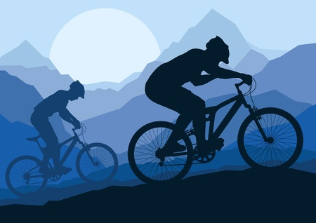 bicicleta vector: Los ciclistas de montaña en bicicleta por vector silvestre paisaje, naturaleza, ilustración de fondo Vectores