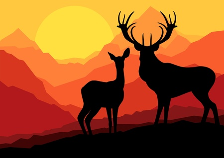 Deer family in wild mountain nature landscape background illustration vector Vector