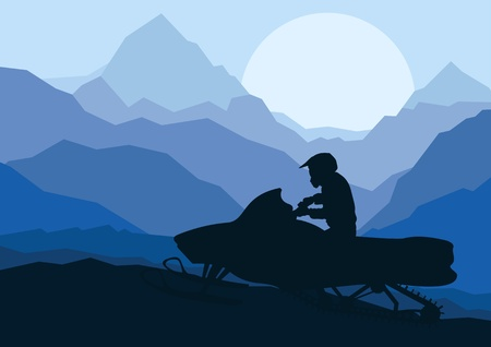 mountain sunset: Snowmobile rider in wild nature landscape background illustration vector