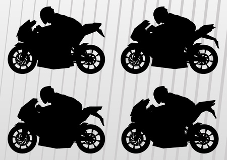 trail bike: Sport motorbike riders and motorcycles silhouettes illustration collection background vector