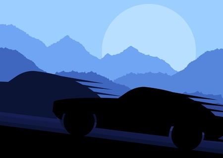 Sport cars silhouettes in wild mountain landscape background illustration vector Stock Vector - 12484817