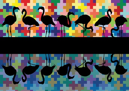 migration: Colorful mosaic and flamingo birds silhouettes reflection illustration background vector Illustration