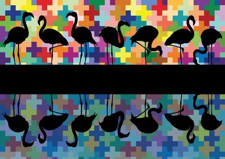 flamenco ave: Colorido mosaico de los pájaros y el flamenco de reflexión siluetas vector ilustración de fondo