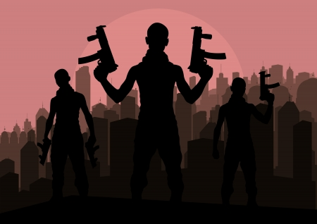 terrorist: Bandits and criminals silhouettes in skyscraper city landscape background illustration vector