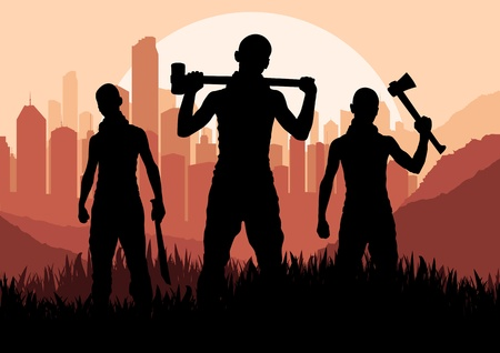 corrupcion: Los bandidos y criminales en siluetas ciudad de los rascacielos ilustración vectorial paisaje de fondo