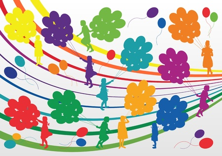 Colorful children with balloons silhouettes illustration collection background vector Vector