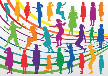 Colorful children and young girls silhouettes illustration collection background vector Vector