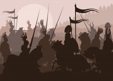 sword silhouette: Medieval knights in battle background, rider leader duel Illustration