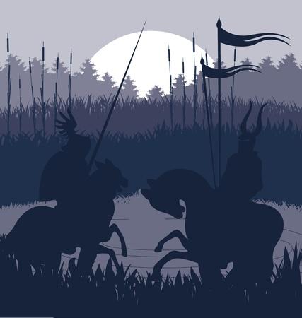 uomo a cavallo: Cavalieri medievali in background battaglia vettoriale, pilota leader del duello Vettoriali