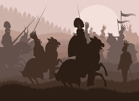 Medieval knights in battle background, rider leader duel Stock Vector - 12485407