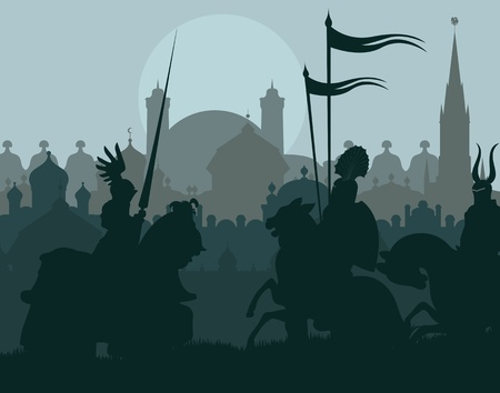 Medieval knights in battle vector background, rider leader duel Illustration