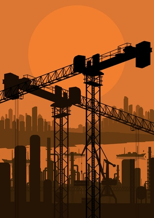 Industrial factory and crane landscape skyline background illustration vector Stock Vector - 12484870