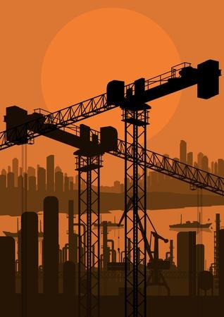 Industrial factory and crane landscape skyline background illustration vector Stock Vector - 12484870