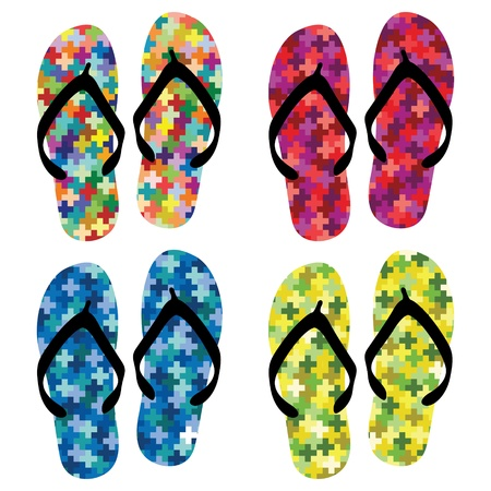 footware: Summer colorful shoes on white Illustration