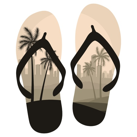 sandals isolated: Summer colorful shoes on white Illustration