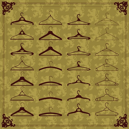 Vintage clothes hangers silhouettes illustration collection background  Vector