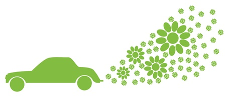 Ecology electrical car vector background green concept Illustration