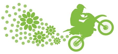 Ecology electrical motorcycle vector background green concept Vector