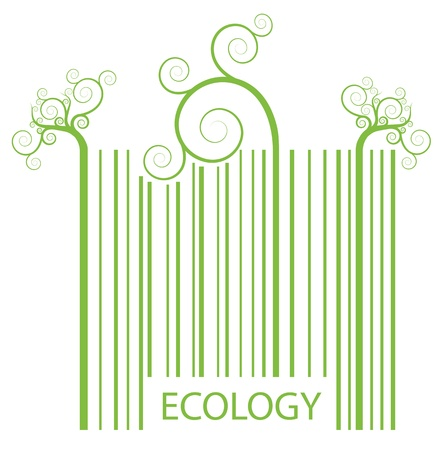 bar code reader: Organic ecology barcode made of green plant sprouts Illustration