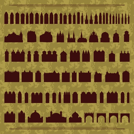 Vintage old city buildings, churches, towers, castles and gates illustration collection background  Vector