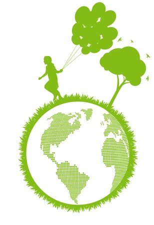 Green ecology plant with happy kid and tree eco concept Vector