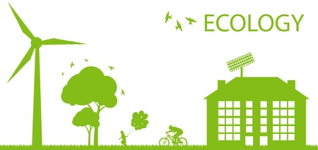 office environment: Green Eco city ecology vector background concept Illustration