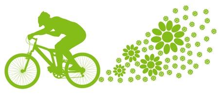 bike vector: Ecolog�a de conducci�n en bicicleta de vectores de fondo el concepto