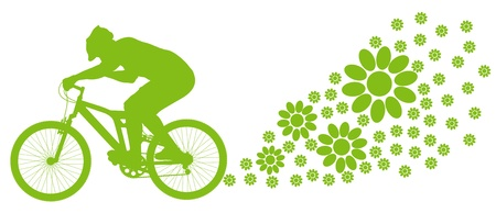 Ecology bike driving vector background concept Vector