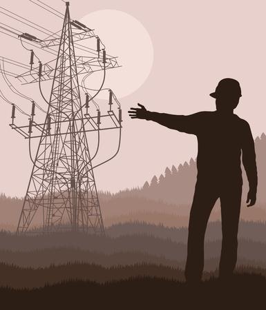 electricidad industrial: De torre de alta tensión con el ingeniero frente a ella