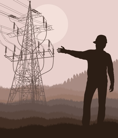 volts: Power high voltage tower with engineer in front of it