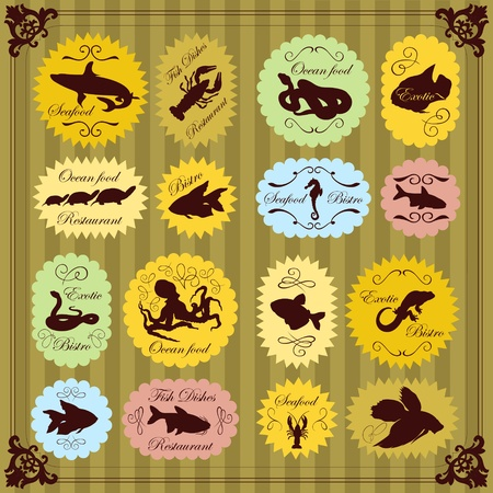 Vintage seafood labels illustration collection background vector Vector