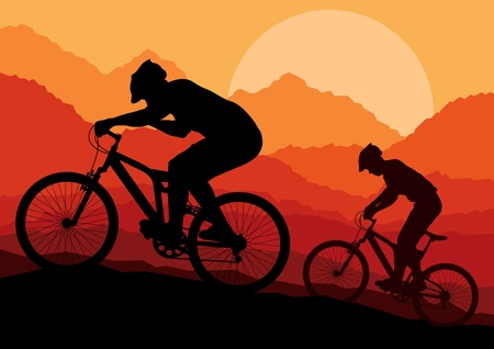 cyclist silhouette: Mountain bike bicycle riders in wild nature landscape background illustration vector
