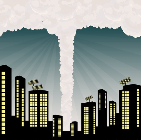 catastrophic: Tornado into city center illustration vector background